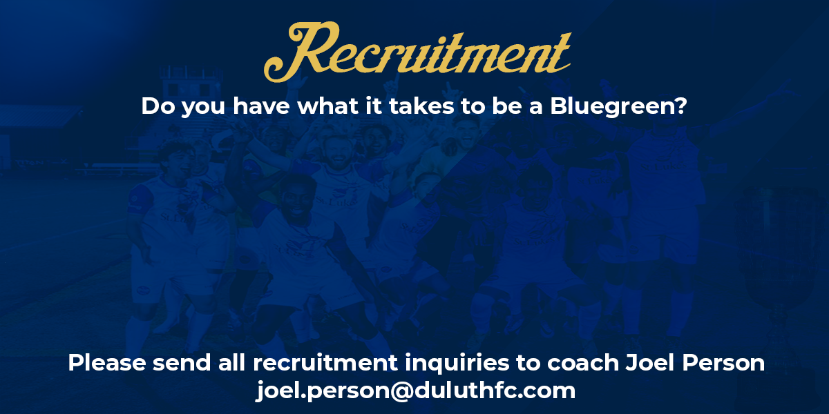 Please send all recruitment inquiries to Joel Person at joel.person@duluthfc.com